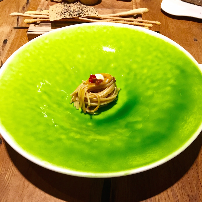 Hand made pasta with sea urchin and a seaweed glaze.