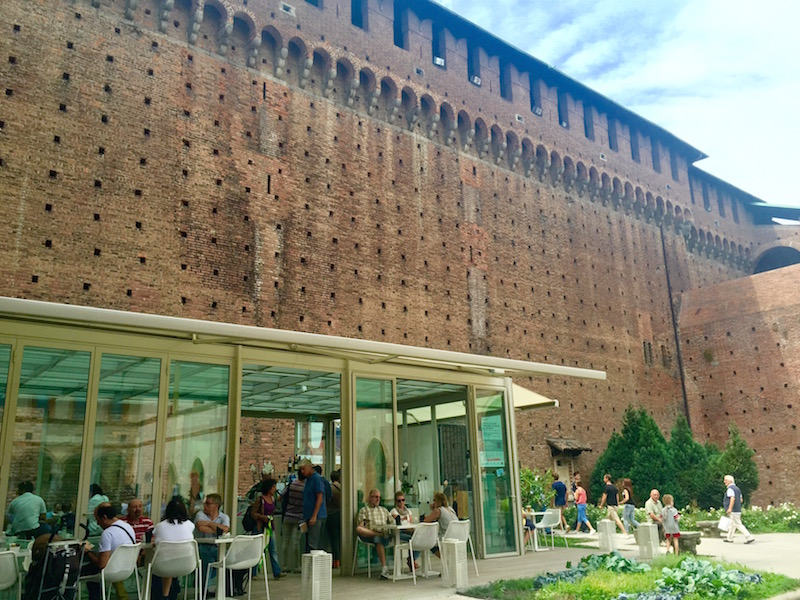 Restaurant inside Castello Sforzesco. Love the contrast of traditional and modern in the same space