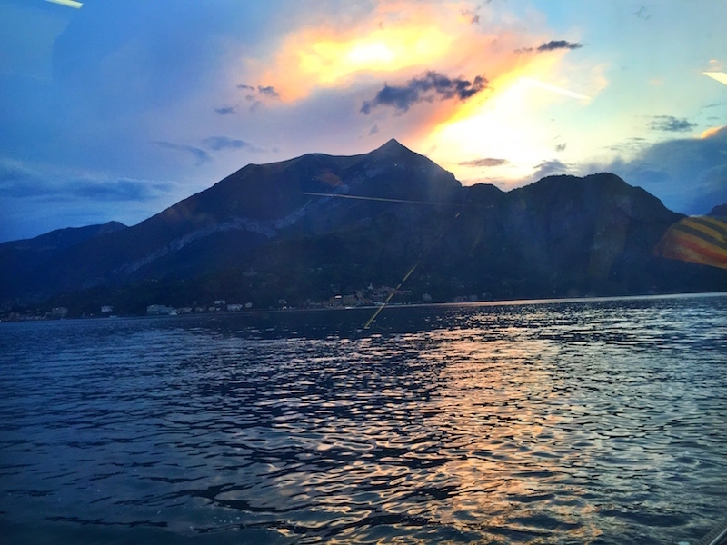 Sunset from the boat to Varenna