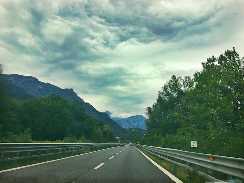 Dramatic clouds as we start ascending towards Lake Como.