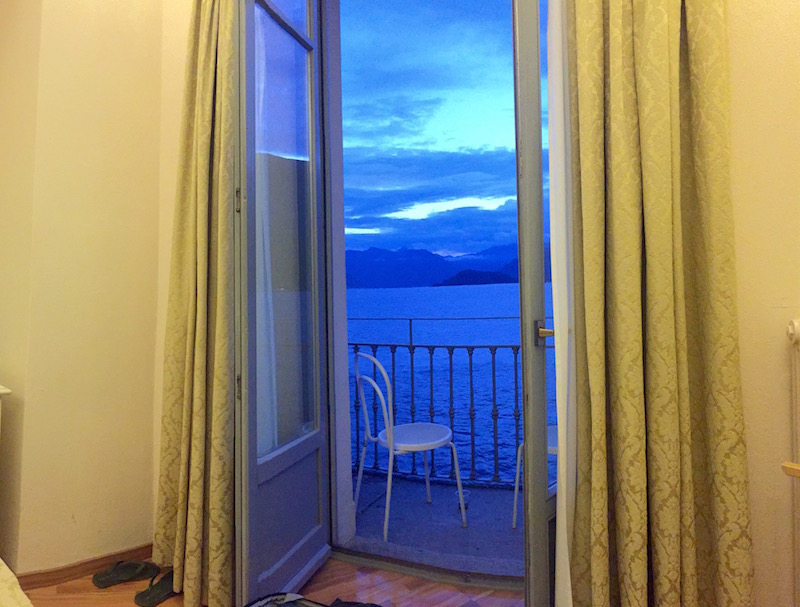 The neon blue glow of dusk from our hotel room. No filter needed!