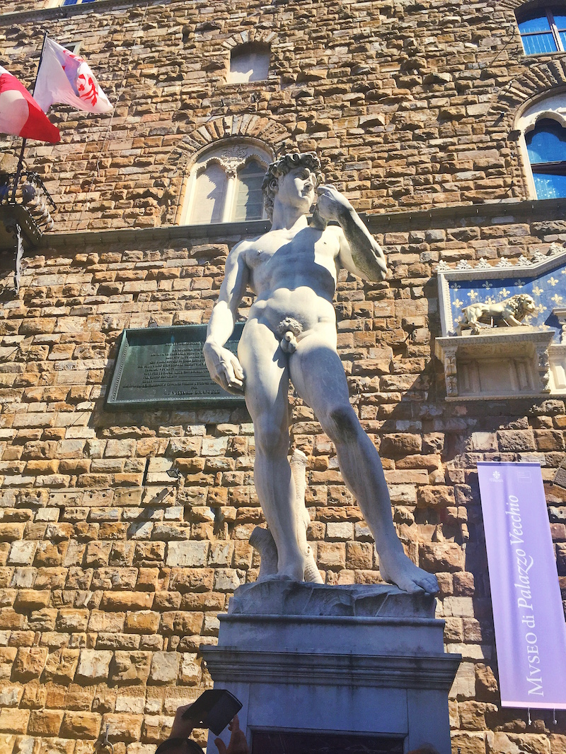 A replica of the David outside Uffizi Gallery.