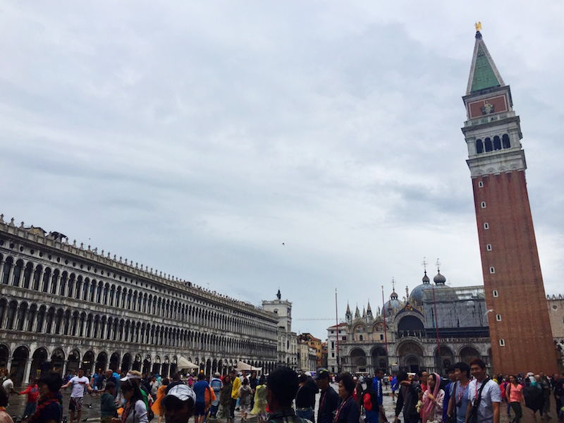 The very crowded but beautiful St.Marks square, with St.Marks Basilica at the far end.