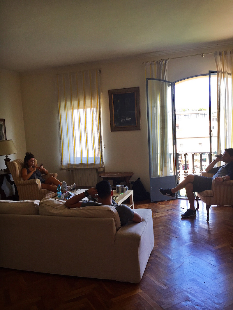 Wifi time for everyone! In the spacious living room of our Florentine apartment.