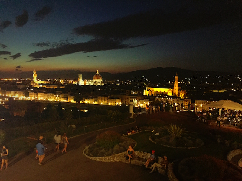 Finally dark, Firenze glowing in the background.