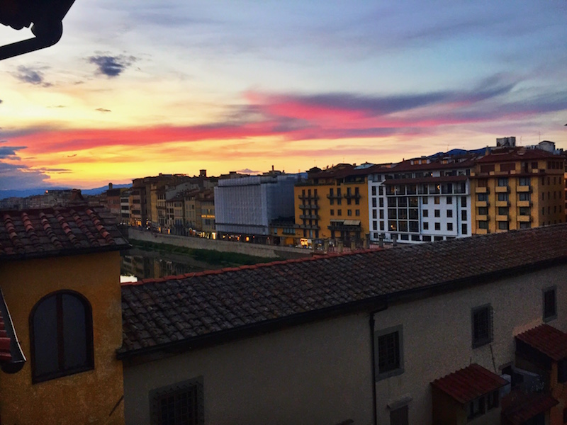 Sunset over the Ponte Vecchio.