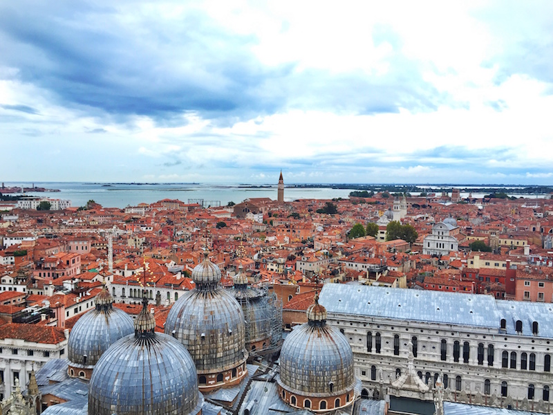 The domes of St.Marks Basilica from the sky.