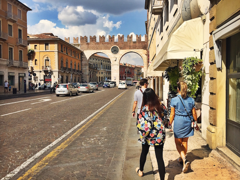 Walking towards the historical centre of Verona.