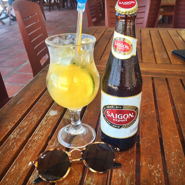 Afternoon refreshments. Saigon Beer & fresh orange juice.