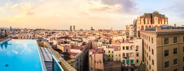 Views from Skybar over a sunset soaked Barcelona